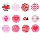 Printable Valentine Animal Print DIY Labels Tags Magnets Buttons Stickers Scrapbooking Hershey