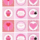 Printable Valentine Ladybug Print DIY Labels Tags Magnets Buttons Stickers Scrapbooking Hershey