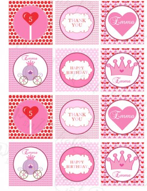 Personalized Printable Valentine Princess Print DIY Labels Tags Magnets Stickers Thank You Crown