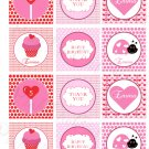 Personalized Printable Valentine Ladybug Cupcake Print DIY Labels Tags Magnets Stickers Thank You