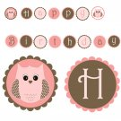 Printable Adorable Owl Banner - Birthday Party Baby Shower Pink Brown Modern Girls Custom