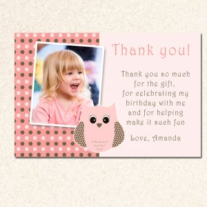 thank you cards owl look whos polka dots photo birthday party baby, Birthday card