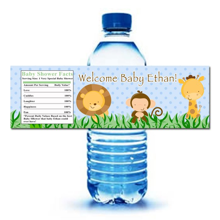 ... Zoo Water Bottle Labels Wrappers Baby Shower Blue Boy Birthday Party