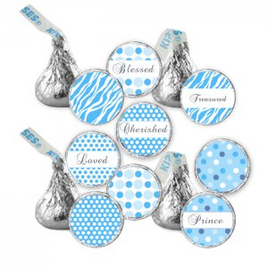 Printable Candy Sticker Print DIY Labels Tags Magnets Buttons Stickers Blue Polka Dots Hershey Kiss