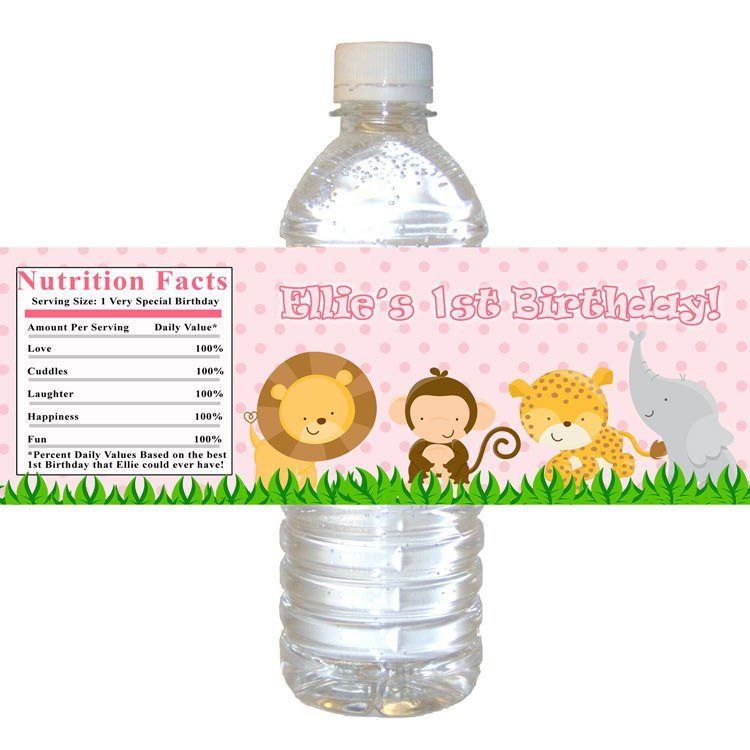 safari zoo water bottle labels wrappers birthday baby shower pink girl