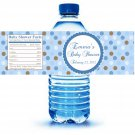 Printable Blue polka Dots Water Bottle Labels Wrappers Birthday Baby Shower Blue Boys Name
