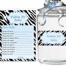 Printable Zebra Wishes for Baby and Jar Label - Baby Shower Boy Blue Custom Cute Adorable