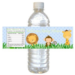 25 Personalized Jungle Baby Shower Bottle Water Labels Wrappers Stickers Monkey Giraffe Lion