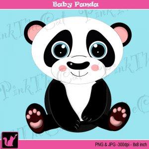 Cute baby panda bear digital clipart graphic - cardmaking - Clip art animal black white png jpg