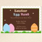 Printable Easter Egg Hunt Party Invitation Card Polka Dots Girl Boy Baby Print Yourself