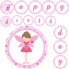 Printable Adorable Fairy Princess Banner - Birthday Party Baby Shower Pink Brown Modern Girls