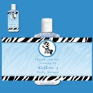 Printable Personalized Hand Sanitizer Labels Baby Boy Shower - Blue Zebra Feet