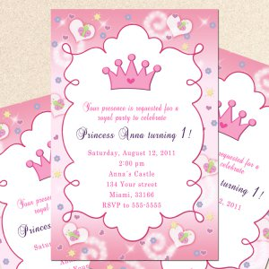 12 Princess Birthday Party Baby Shower Invitations Girl Pink Personalized