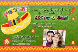 20 Mexican Fiesta Engagement Party Photo Invitations Sombrero Margarita