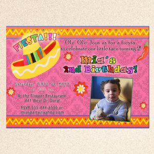 20 Mexican Fiesta Birthday Engagement Party Photo Invitations Sombrero Margarita