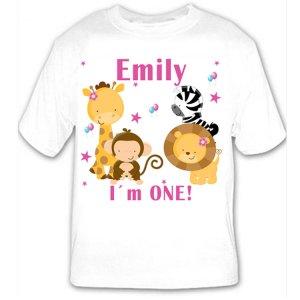 Printable Personalized Jungle Pink Tshirt - Baby Birthday Girl Custom