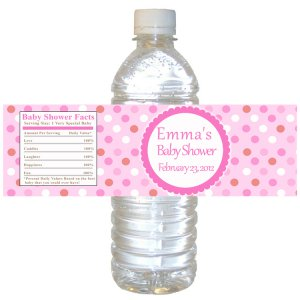 Printable Pink Polka Dots Water Bottle Labels Wrappers - Birthday Party Baby Shower Custom Wraps