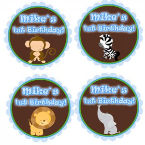 Printable Personalized Jungle Cupcake Toppers Baby Boy Shower or Birthday