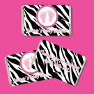 90 Baby Feet Zebra Mini Candy Wrapper - Birthday Party Baby Shower Girl pink black white