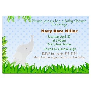 30 Baby Boy Shower Blue Elephant Invitations - Also Birthday