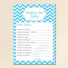 Printable Chevron Wishes for Baby Card - Baby Shower Blue Boy Custom Cute Adorable