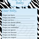30 Zebra Wishes for Baby Card - Baby Shower Blue Boy Custom Cute Adorable