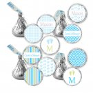 Hershey Kiss stickers - Printable Baby Boy Shower Blue Monogram Candy Labels