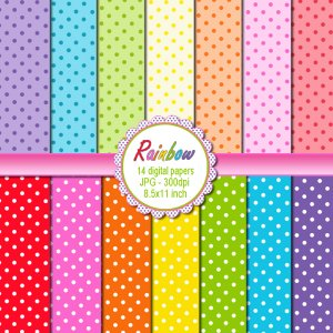 Rainbow polka dots clipart digital printable background paper graphics