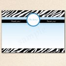 Printable Baby Shower Oh Boy Blank Thank you Card Note Blue White Black Zebra