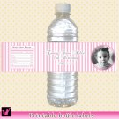 Printable Personalized Pink Stripes Photo Water Bottle Labels Wrappers - Birthday Party girl