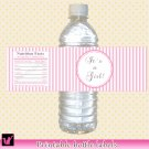 25 Pink Stripes Photo Water Bottle Labels Wrappers Birthday Girl