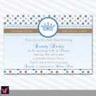 Printable Personalized Prince Crown Baby Boy Shower Birthday Party Invitations