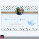 30 Prince Crown Birthday Party Photo Invitations Blue