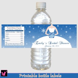 Printable Personalized Winter Wonderland Bridal Shower Water Bottle Labels Wrappers