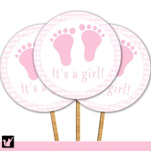 20 Personalized Cupcake Toppers Baby Girl Shower Pink Feet Treads