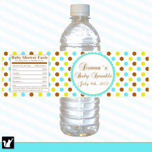 25  Personalized Blue Green Brown Polka Dots Bottle Labels Wrappers