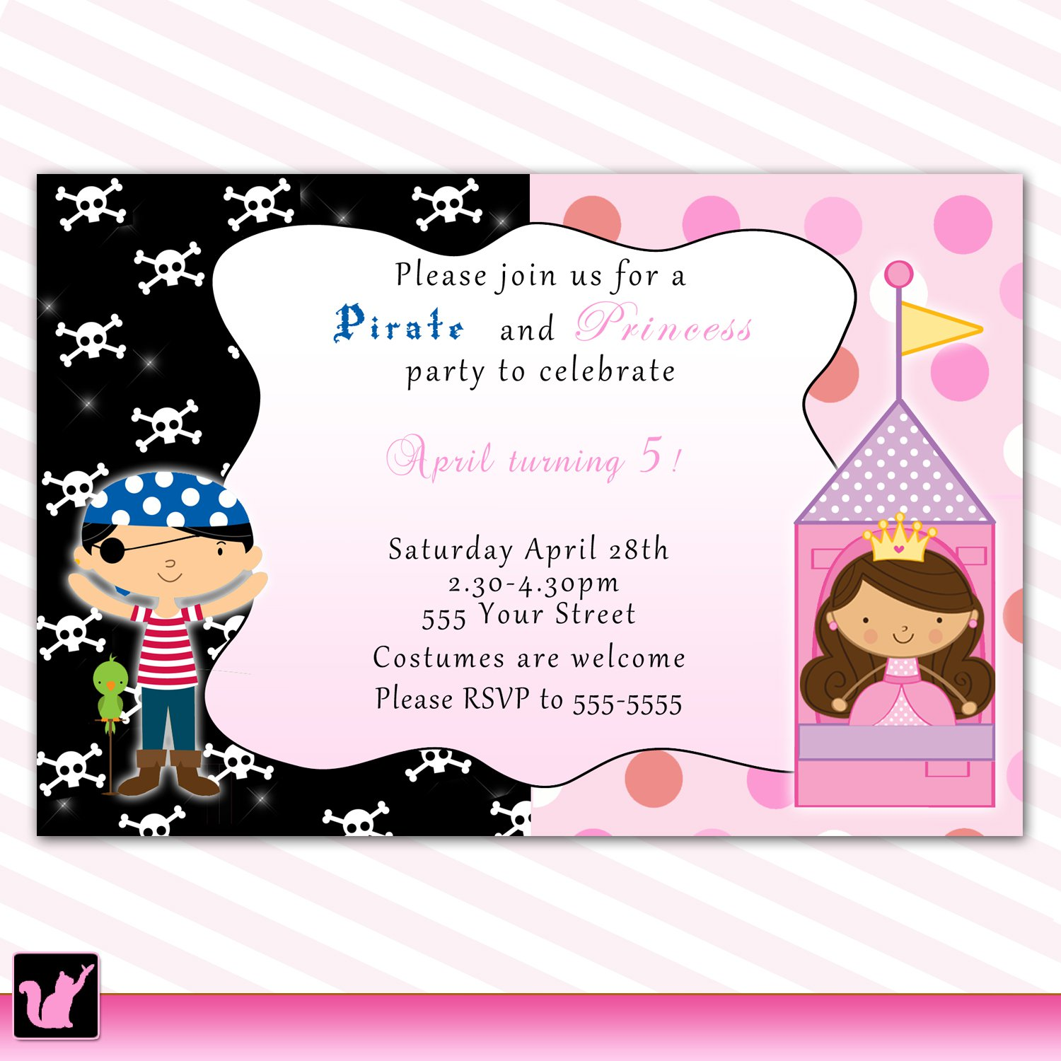 Printable Pirate Fairy Princess Birthday Party Invitations Polka Dots Baby Print Yourself