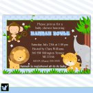 Jungle Invitations Baby Shower Birthday Blue Boy - DIY Print Yourself Safari Zoo