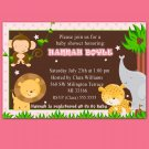 Cute! 30 Printed Baby Girl Shower Birthday Jungle Invitations - Safari Zoo