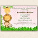 Jungle Invitations Baby Shower Birthday Party Girl Pink - DIY Print Yourself Safari Zoo