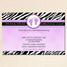 Cute! 10 Printed Baby Shower Jungle Zebra Invitations Girl - Violet Safari Zoo