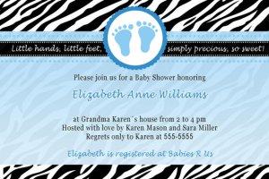 Printable Baby Boy Shower Blue Zebra Feet Treads Invitations Cards