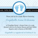 Printable Baby Boy Shower Blue Polka Dots Feet Treads Invitations Cards