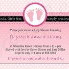 Cute! 10 Printed Baby Shower Jungle Polka Dots Invitations Girl - Pink Safari Zoo