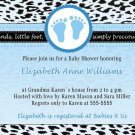 Printable Baby Boy Shower Blue Leopard Feet Treads Invitations Cards