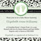 Printable Baby Boy Shower Green Leopard Feet Treads Invitations Cards