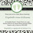 Printable Baby Boy Shower Green Leopard Feet Treads Invitations Cards