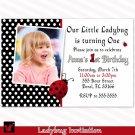 Printable Ladybug Birthday Party Photo Invitations Girl 1st 2nd Lady Bug