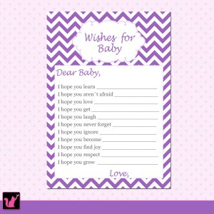30 Purple Chevron Wishes for Baby Card - Baby Shower Violet White Girl Custom Cute Adorable