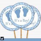 Printable Cupcake Toppers Tags Stickers Baby Boy Shower Polka Dots Blue Brown